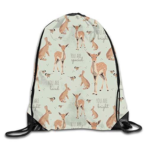 Drawstring Bag Rucksack Drawstring Backpack Woodland Animal Affirmations in Light Egg Blue for Picnic Gym Sport Beach Yoga Drawstring Sackpack Bag 36X43CM