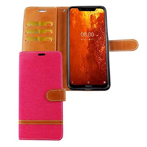 König Design mobiele telefoon hoes compatibel met Nokia 8.1 beschermhoes case cover kaartenvak etui portefeuille, Roze - jeans-look
