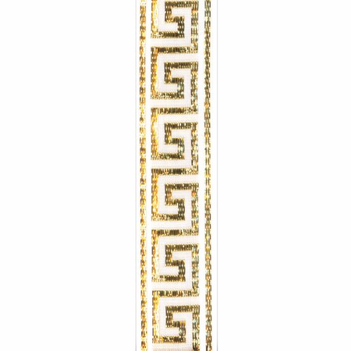 Offray, White Greek Key Craft Ribbon, 7/8-Inch x 9-Feet