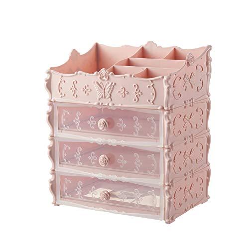 Organisateur de maquillage Boîte de rangement cosmétique avec tiroir multifonctionnel princesse pour bijoux, pinceaux de maquillage, pour la vanité de commode de salle de bains,Rose