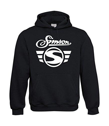 Textilhandel Hering Kapuzenpullover - Simson Logo + Schrift (Schwarz, L)