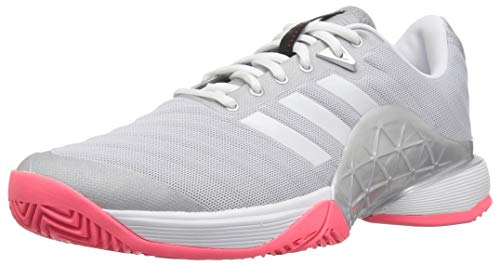adidas Women's Barricade 2018 Tennis Shoe, Matte Silver/White/Flash red, 5.5 M US