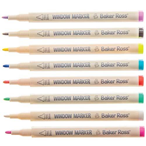 Baker Ross Glasmalstifte mit feiner Spitze, für Kunst- und Bastelprojekte für Kinder (8 Stück)