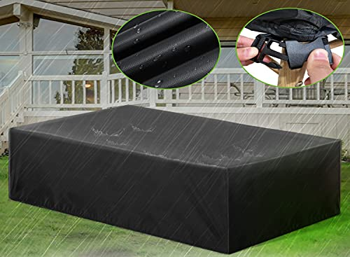 ESSORT Patio Furniture Covers, Extra Large Outdoor Furniture Set Covers 124 x63 x29  Waterproof, Rain Snow Dust Wind-Proof, Anti-UV, Fits for 10-12 Seats