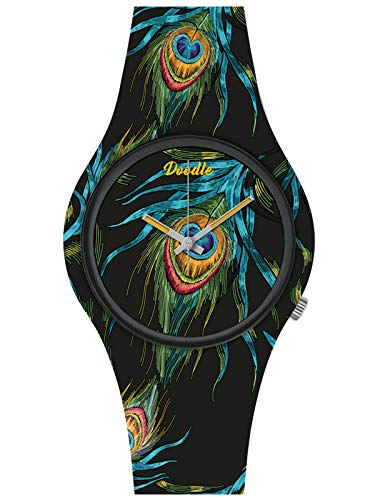 Doodle Watch Wild Mood DO39009 - Reloj de pulsera con tatuaje de pavo real, color negro