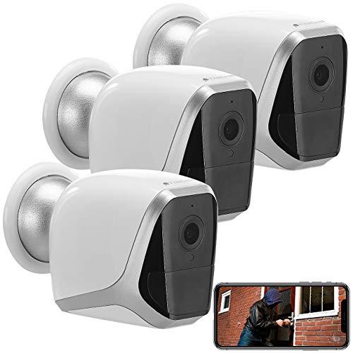 VisorTech Überwachungssystem: 3er-Set 2K-WLAN-IP-Kamera mit Akku, App, 1 Jahr Stand-by, 3 MP, IP65 (Kabellose Überwachungskamera)