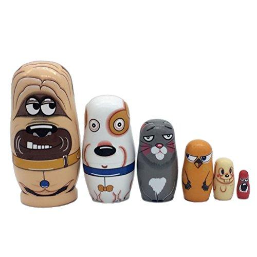 ULTNICE Russische Nesting Dolls 6 teilige Matryoshka Bunte Stapeln Spielzeug Puppe