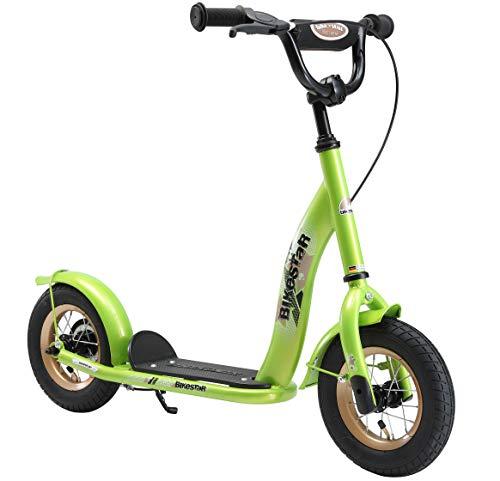 BIKESTAR Roller Kinderroller Tretroller Kickscooter mit Luftreifen für Jungen und Mädchen ab 4-5 Jahre ★ 10 Zoll Classic Kinder Scooter ★ Grün