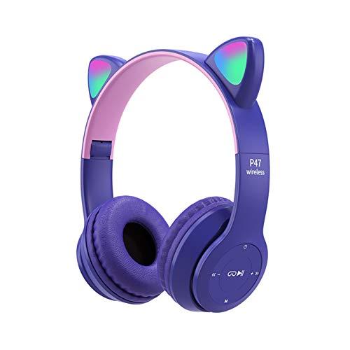 Cat Ear Cuffie Bluetooth LED Light Up Cuffie Pieghevole Cat Ear Gaming Headset Senza Fili Bluetooth Over Ear Cat Cuffie per PC, Telefono Mobile
