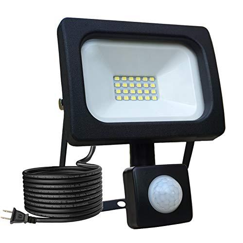 センサーライト 人感LEDフラッドライト PIR屋外センサー投光器 20w 極薄 軽量型 高輝度 昼白色 防水照明 駐車場 倉庫 町内の防犯灯に(PSE認証済み)
