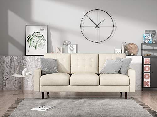 "Container Furniture Direct Matte Velvet Mid Century Modern Tufted Living Room Sofa, 71.7"", Beige"