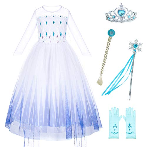 Princess Costumes Snow Queen Fancy Dress for Little Girls Birthday Party with Wig,Crown,Mace,Gloves Accessories 4T 5T