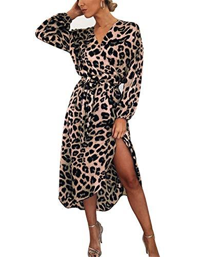 BUOYDM Mujer Elegantes Vestido de Fiesta Cuello V Leopardo Estampado Vestido Casual Manga Larga Irregular de Noche Cóctel Playa Rosa L