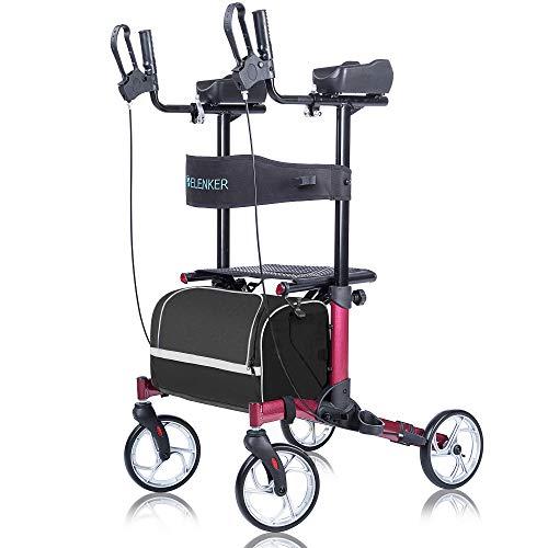 ELENKER Upright Walker, Stand Up Folding Rollator Walker Back Erect Rolling Mobility Walking Aid with Backrest Seat and Padded Armrests for Seniors and Adults, Red