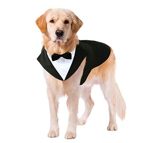 Kuoser Dog Tuxedo Dog Suit and Bandana Set, Dogs Tuxedo Wedding Party Suit, Dog Prince Wedding Bow Tie Shirt Formal Dog Weeding Attire for Large and Medium Dogs Golden Retriever Samo Bulldogs XXL
