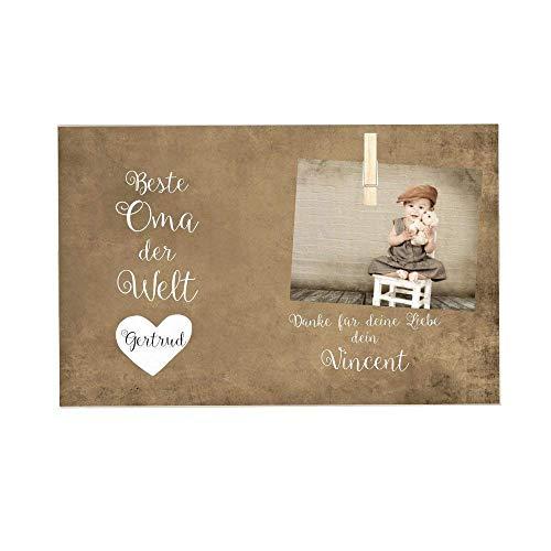 Persönliches Fotogeschenk für die Oma - Personalisierte Geschenkidee aus Holz mit Spruch