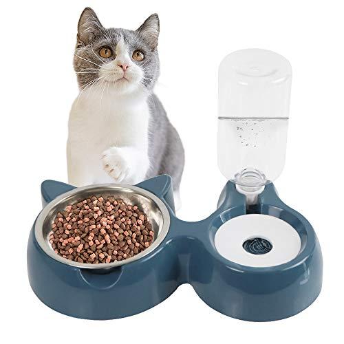 Speyang rutschfeste Doppelte Katzennäpfe, Automatischer Futternapf und Wasserspender für Katzen und Hunde, Katzen Futternäpfe, Katzennapf, für Haustier Katze und Kleine oder Mittelgroße Hund