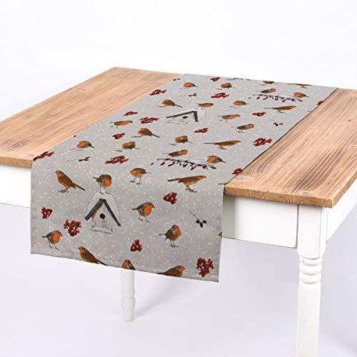 SCHÖNER LEBEN. Tischläufer Winter Rotkehlchen Vogelhaus grau weiß braun 40x160cm