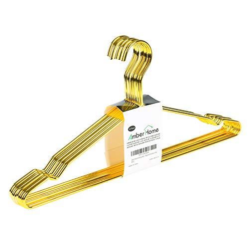 Amber Home 10 Pezzi 43cm di Grucce Appendiabiti in Ferro Metallico Alta qualità Oro Dorata per Completo, Magliette, Camicie, Giacche, Abiti, Vestito, Scanalature Antiscivolo, Forte e Resistente