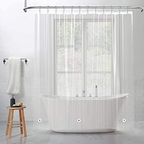 BTTN Transparent Duschvorhang, Durchsichtig Duschvorhänge mit Gewicht Magnet Unten, 100prozent Peva Wasserdicht,Anti-Schimmel Badevorhänge für Badezimmer (B183 x H183cm)