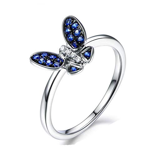 AueDsa Rings 925 Silver Women,Anniversary Ring Sapphire Sapphire Blue White Butterfly Ring Size P 1/2