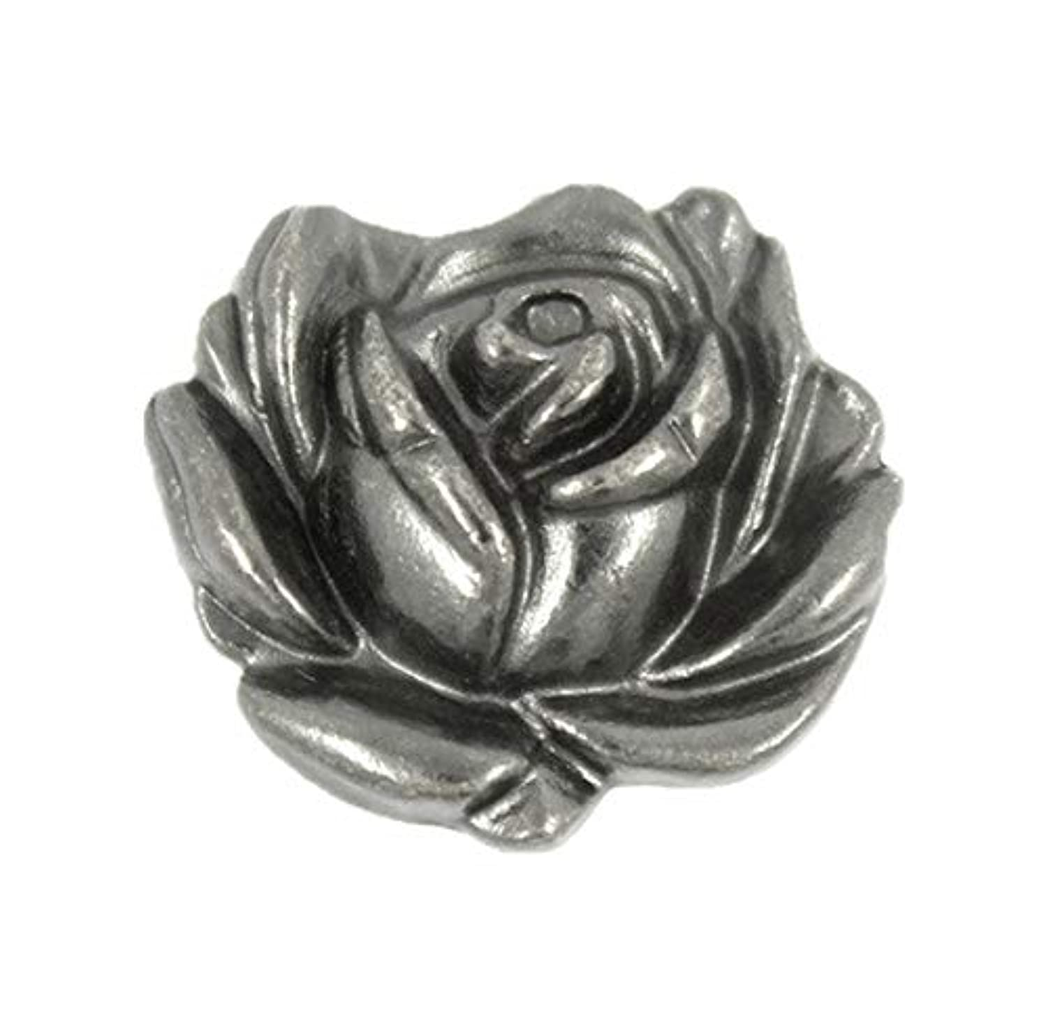 Bezelry 12 Pieces Rose in Full Bloom Gray Silver Metal Shank Buttons. 20mm (3/4 inch)