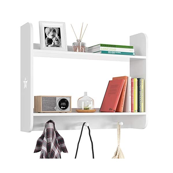 HOMECHO Coat Rack Shelf, Wood Hanging Entryway Shelves, Wall Floating Shelf with Hook and Storage for Hallway, Bedroom, Nursery, Living Room, Closet, White