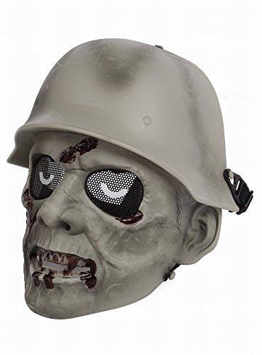 【選べる4color】 ゾンビ 兵 フェイスマスク フェイスガード サバゲー マスク サバイバルゲーム 装備 (ホワイト)