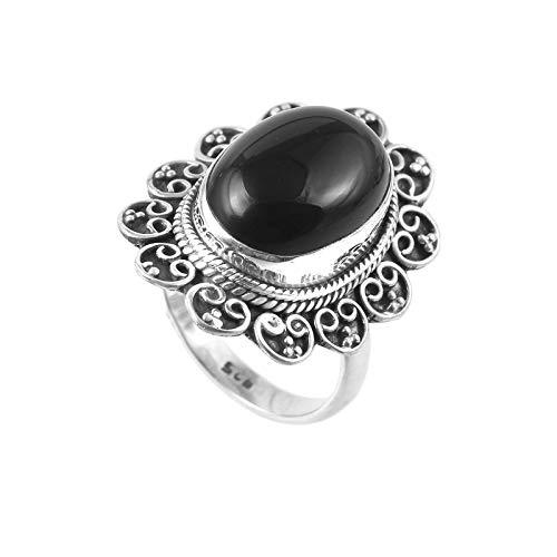 Anillo de piedras preciosas de ónix negro natural | Anillo de plata de ley 925 | Anillo de regalo para mujer | Anillo de piedras preciosas | Anillos para hombre | Talla de anillo 7 EE. UU.