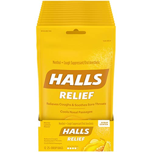 HALLS Relief Honey Lemon Flavor Cough Drops, 12 Bags (300 Total Drops)