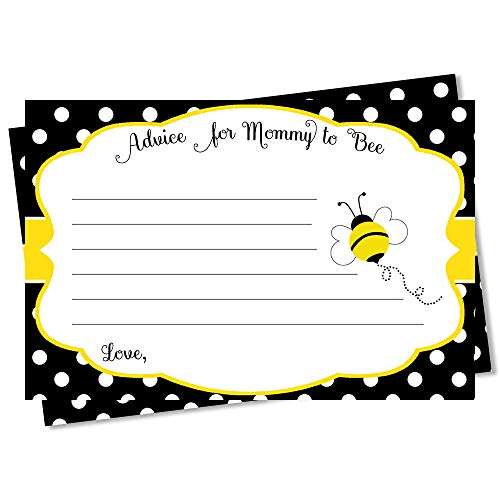 Babee On The Way Baby Shower Advice Cards New Mom Cards New Baby Advice Parents Mommy Bumble Bee Theme Neutral Honey Hives Yellow Black Polka Dot Whats The Buzz Bees (24 Count)