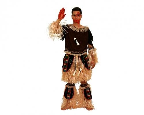 Disfraz de Indio del Amazonas, con Flecos. Hombre, talla única.