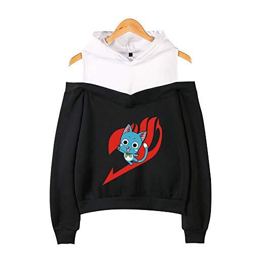 BRQ Hadas Cola- suéter con Capucha, Camiseta de Las Muchachas, Flojo sin Tirantes Sudaderas con Capucha Casual Divertido Sudaderas Tops Ropa (Color : Black B, Talla : L)