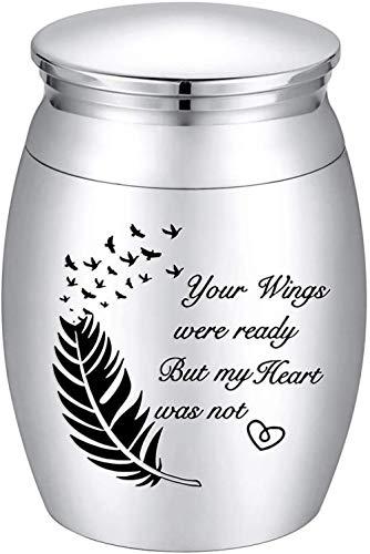 CWWU Urnen Mini Andenken Urne für AscheKleine Feuerbestattung Urnen für Asche Edelstahl Memorial Asche Halter - Ihre Flügel Waren bereit, Aber Mein Herz war Nicht
