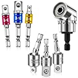 7 Pieces Power Drill Sockets Adapter Set Includes 3 Hex Shank Universal Socket Adapter 3 Pieces 360 Degree Rotatable Impact Driver Socket Extension 1 Piece 105 Degree Right Angle Screwdriver Drill Bit