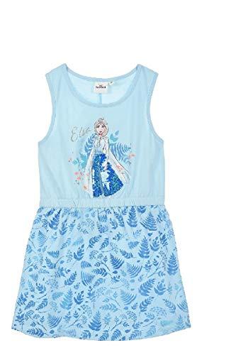 Disney Frozen - Die Eiskönigin Mädchen Sommerkleid ELSA m. Pailletten Gr. 104-128 (Hellblau, Numeric_128)