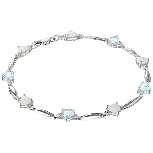 Heart-Shaped Created Opal and Aquamarine Bracelet with .01 cttw. Diamonds - Sterling Silver - 7.5""