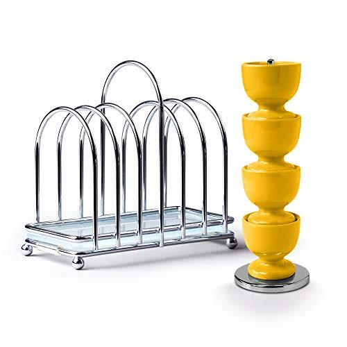 Zeal BASET9M Frühstücksset Set aus 4 Eierbechern aus Melamin auf Ständer mit Chrom und Glas, 6-teiliges Toastständer, senffarben