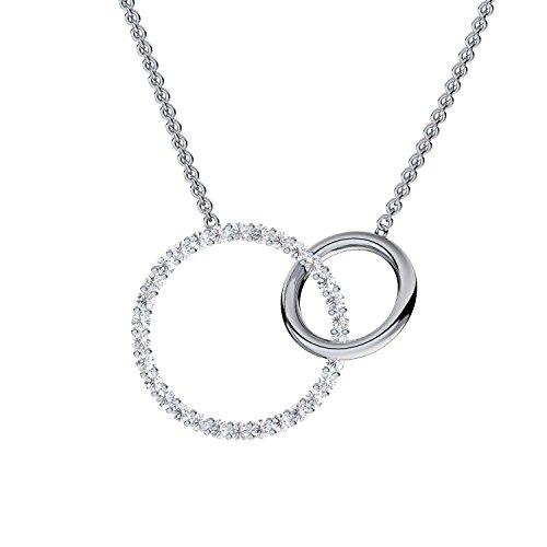 Kette zwei Ringe Silber 925 Halskette Damen Kette mit 2 Ringen Kette mit Ringanhänger Silber-Kette zwei Ringe ineinander Kreis-Ketten für Frauen Kette mit rundem Anhänger FF606SS925ZIFA