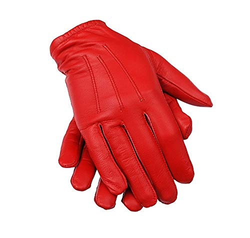 Ergonomic Cut Leather Police Driving Gloves (Large, Red)