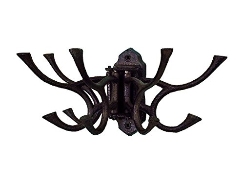 CTW 520010 Decorative Cast Iron Hinged Wall Mount Hook, Hang Jewelry Belts Pet Leashes Coats Bags Purses Keys Towels Purses, Vintage Inspired Rustic Farmhouse Style Home Decor, Cast Iron Metal, Black
