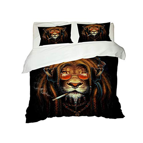 Michance 3-Piece Set Of European-Style Personalized Decoration Duvet Cover Suitable For Hotel, Dormitory, Bedroom Bedding Tiger, Lion, Kitten Black Duvet Cover Kit