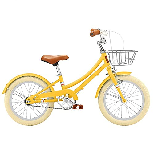 KJWXSGMM Mountainbike Für Kinder Und Teenager, Mädchen Fahrrad, Für 3-10 Jahre Alt 16 18 20 Zoll Fahrrad Mit Handbremse Und Kickstand Verstellbarer Sitz Stahlrahmen Kinder Fahrrad,Gelb,16 inches