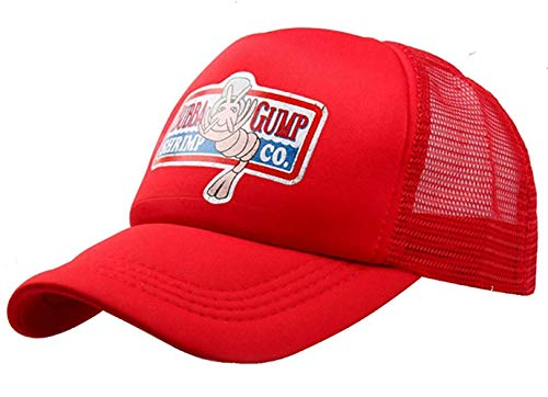 qingning Gump Kappe Baseballcap Rot Drucken Hut Snapback Trucker Cap Cosplay Kostüme Zubehör (One Size(58-60cm), A-Gunm Kappe-Rot 1)