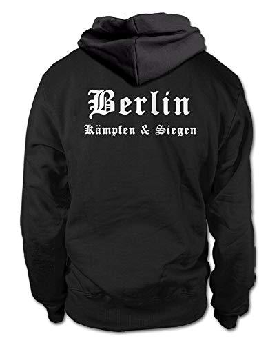 shirtloge Berlin - Kämpfen & Siegen - Fan Kapuzenpullover - Schwarz (Weiß) - Größe L