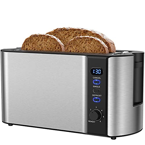 Toaster 4 Slice, Extra-Wide Long Slot Toaster, Countdown Digital Display, Warming Rack of Long Slice Toaster, 6 Bread Settings of Stainless Steel 2 Slice Toaster, Single, Reheat, Cancel, Defrost