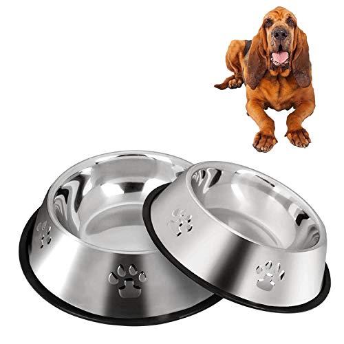 2 ciotole per cani in acciaio inox, ciotole per cani con base in gomma antiscivolo, ciotole medie e grandi (30cm)