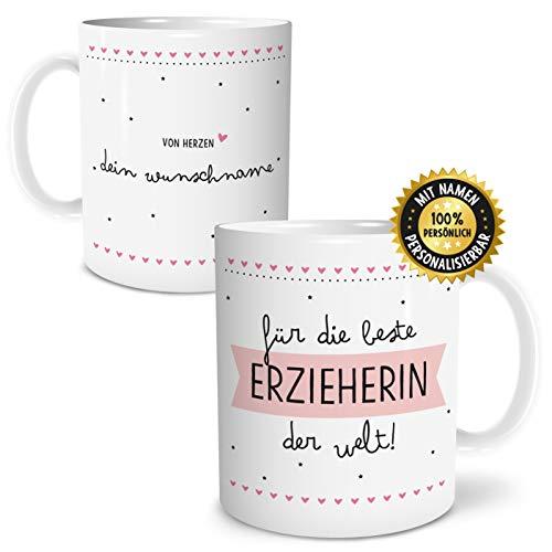 OWLBOOK Beste Erzieherin Große Kaffee-Tasse mit Spruch im Geschenkkarton Personalisiert mit Namen Geschenke Geschenkidee für Erzieher-in Abschied Abschluß