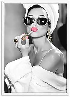 liwendi Klassische Audrey Hepburn Tasche Make-Up Moderne Poster Leinwand Malerei Wandkunst High Heels Bild Schlafzimmer Dekoration 50X70 cm Kein Rahmen Bild A