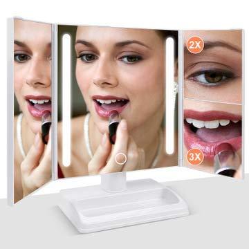 Zhenhe Maquillaje plegable Espejo, Espejo de baño con 32 luces LED regulable con amplio ángulo de la pantalla táctil y la encimera ajustable de 180 grados Soporte Para la sala de estar familiar y la d
